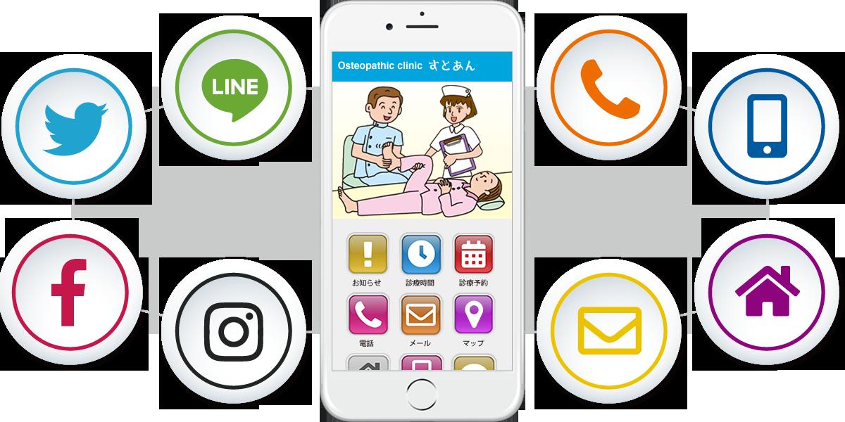 整骨院・接骨院・鍼灸院・カイロプラクティック・整体院さんなど、オフィシャルのLINE・Twitter・Facebook・InstagramなどのSNSへのリンクを、ひとつにまとめて掲載することができます。